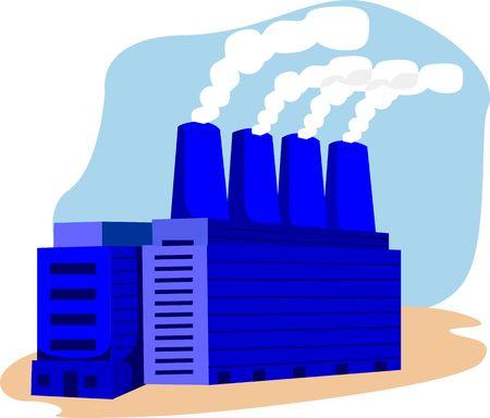 emitting: Illustration of a factory emitting smoke  Stock Photo