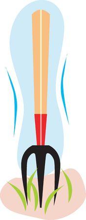 Illustration of a metal pitchfork Stock Illustration - 2884167