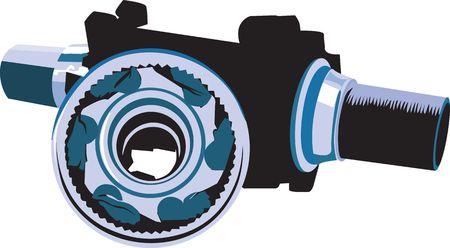 Illustration of two mechanic machine parts