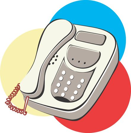 touchtone: Illustration of a telephone in colourful circles  Stock Photo