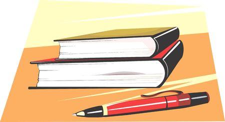 written date: Illustration of a pen ad books  Stock Photo