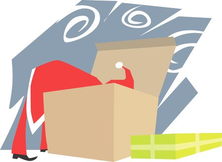 Santa clause looking in a big box for gifts Stock Photo - 2886311