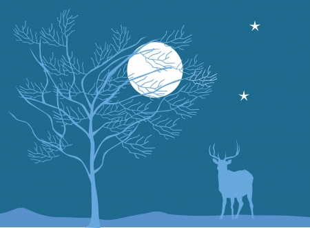 A deer is standing under a tree in moonlight  Stock Photo