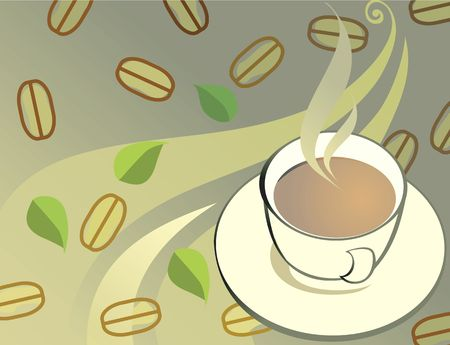 Illustration of hot coffee with beans in floral background  Stock Illustration - 2888172