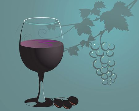Illustration of grape juice with grapes in glass