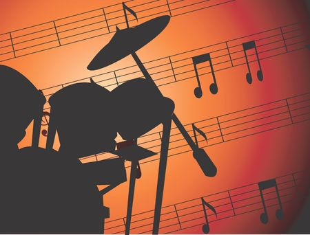 Illustration of jazz drums with music notes  illustration