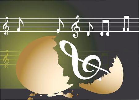 Illustration of a eggshell with music notes
