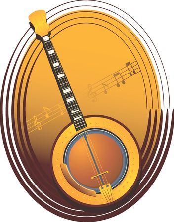 mandolino: Illustrazione di un mandolin con le note di musica