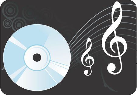 writable: Illustration of a compact disc with music notes  Stock Photo