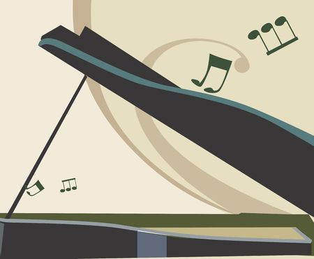 Illustration of a piano with music notes  Stock Photo