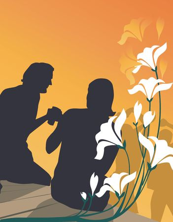 Silhouette of couple sitting in a lawn near a flower plant photo