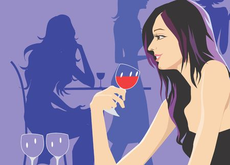 Silhouette of Lady sitting in a restaurant and drinking wine Stock Photo - 2888156