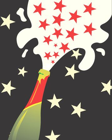 Stars are coming out of the champagne bottle  photo