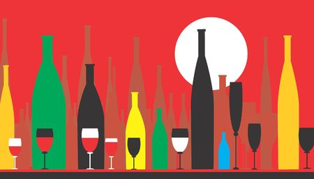 Wine-bottles and wine glasses in red background Stock Photo - 2888090