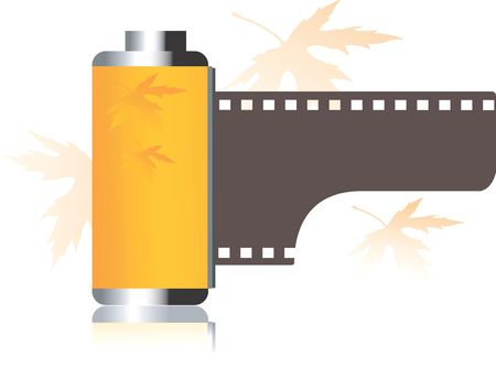 photoshop: Illustration of yellow film roll  Stock Photo