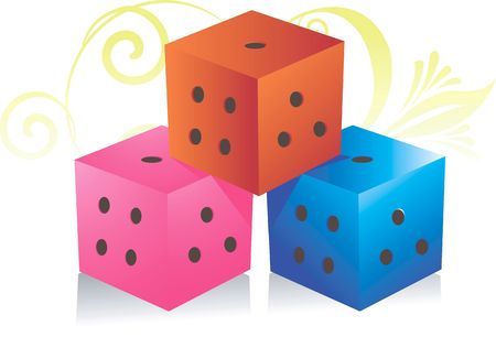snake and ladder: Illustration of three cubes used for playing