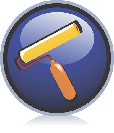 rollerbrush: Illustration of a  paint roller in blue background