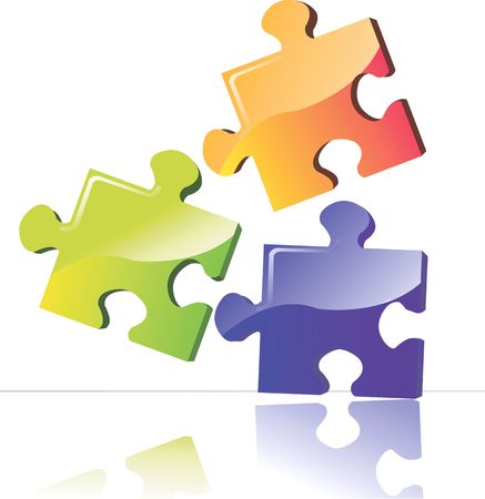 Illustration of three colour puzzle boards  Stock Photo