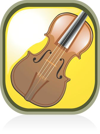 Illustration of a violin in yellow background  illustration