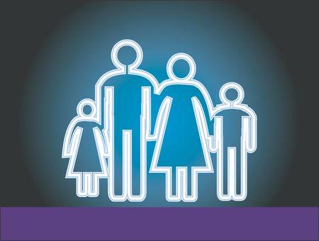 radiant light: Illustration of a family icon in radiant light