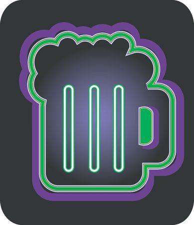 Illustration of over flown beer glass in black background   illustration