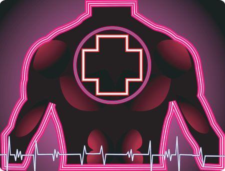 croix rouge: Illustration de la croix rouge sur un homme et d'impulsions