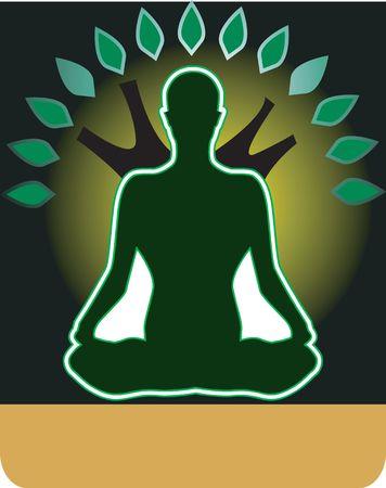 Illustration of a man doing yoga and meditation Stock Illustration - 2892440