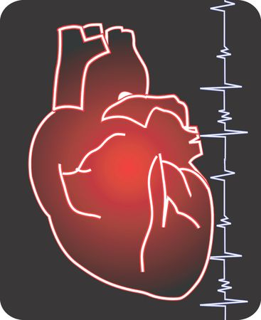 Illustration of a heart and heart pulses