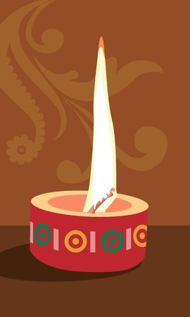 lighted: Illustration of lighted candle in brown background  Stock Photo