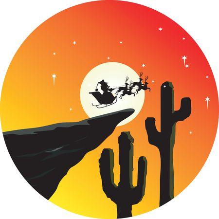 Illustration of Santa clause going in deer locked sledge  illustration