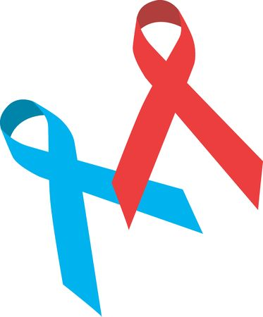 Illustration of a blue and red AIDS symbols