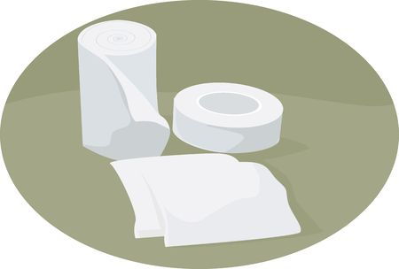 bandaging: Illustration of dressing materials in a clinic