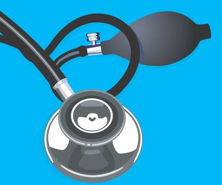 general practitioner: Illustration of a stethoscope in blue background
