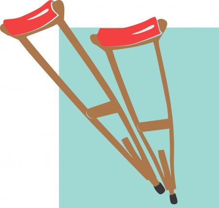 Illustration of a two crutches with red cushion Illustration of blue medical bag  Bag,