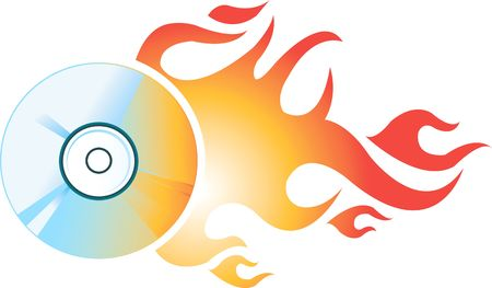compact: Illustration of Compact Disc with fire