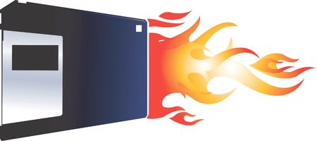 writable: Illustration of a computer floppy with tail of fire  Stock Photo