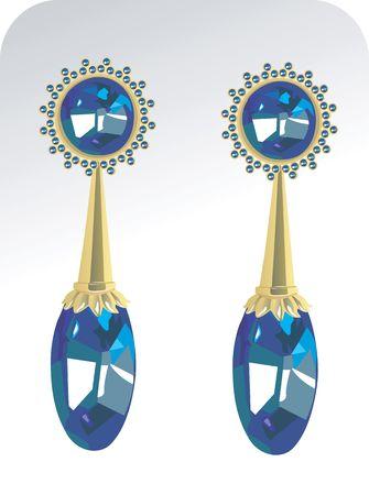 stud: Illustration of golden ear ring with diamond