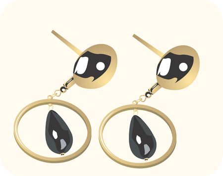stud: Illustration of golden ear ring with black gemstone Stock Photo