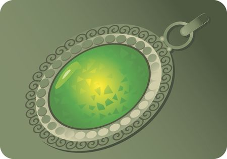 green gemstone: Illustration of locket mounted with green gemstone