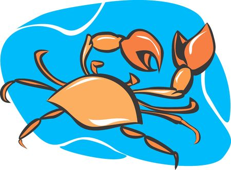 Illustration of a crab underwater