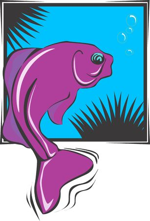 starve: Illustration of a fish swimming underwater