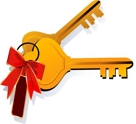Illustration of two keys tied together with ribbon Stock Illustration - 2892709