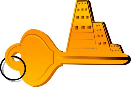 Illustration of buildings on top of a key Stock Illustration - 2893168
