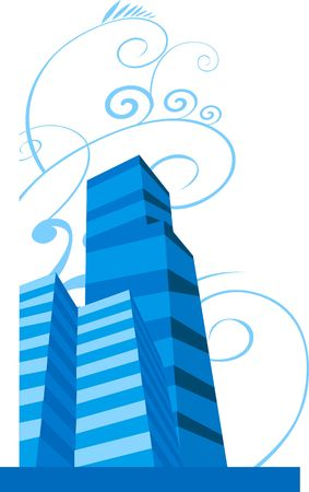 Illustration of blue buildings in a plane Stock Illustration - 2892602