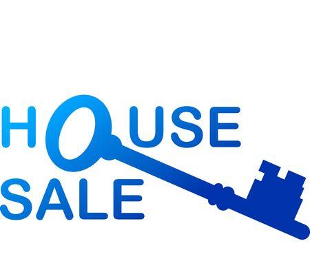 Illustration of blue key with sale note Stock Illustration - 2892603