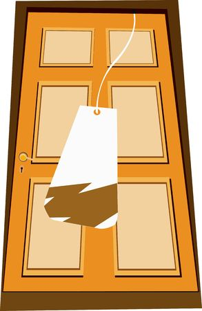 Illustration of a wooden door with tag Stock Illustration - 2892656