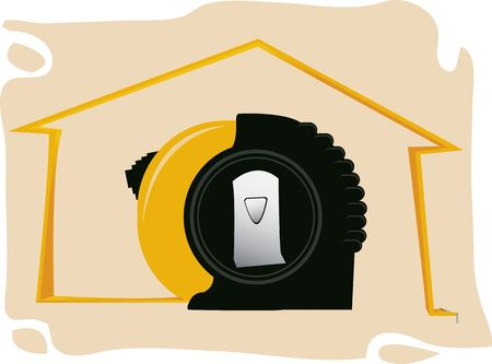 Illustration of a measurement tape in front of a house  illustration