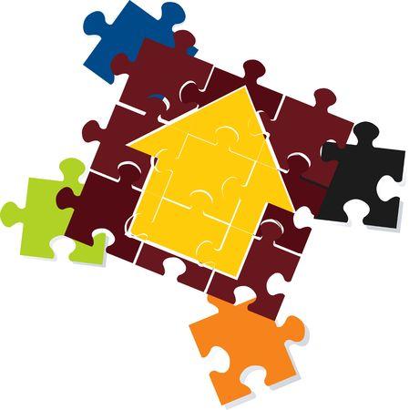 deficient: Illustration of arrow making jigsaw  Stock Photo