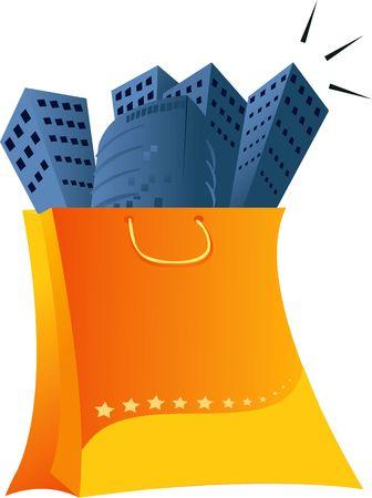 Illustration of a bag of buildings Stock Illustration - 2892610