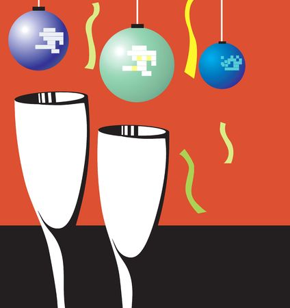 Illustration of two wine glasses with balloons and ribbon  illustration